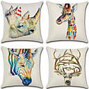 cheap Slipcovers-4 pcs Cotton / Linen Pillow Cover, 3D Retro Animal