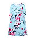זול שמלות לבנות-שמלה כותנה אביב סתיו חצי שרוול יומי חגים אחיד פרחוני הילדה של חמוד יום יומי בוהו שחור ורוד מסמיק כחול נייבי כחול בהיר