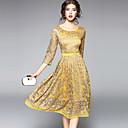preiswerte Handbeutel-Damen Anspruchsvoll Street Schick A-Linie Hülle Spitze Kleid - Spitze Ausgehöhlt Gerüscht, Solide Midi