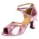 זול נעליים מודרניות-נעליים לטיניות דמוי עור סנדלים / עקבים עקב מותאם מותאם אישית נעלי ריקוד ורוד