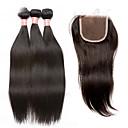 זול פיאות תחרה משיער אנושי-שיער מלזי ישר שיער בתולי שיער Weft עם סגירה 4 חבילות שוזרת שיער אנושי שחור