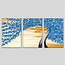 זול ציורי שמן-מצויר ביד פרחוני/בוטני פנורמי אנכי, מודרני ציור שמן צבוע-Hang קישוט הבית שלושה פנלים