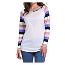 cheap Wallets-Women's Casual / Basic Cotton T-shirt - Striped / Patchwork Blue M / Spring