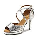 hesapli Latin Dans Ayakkabıları-Kadın's Dans Ayakkabıları Yapay Deri Latin Dans Ayakkabıları Süsler Sandaletler / Spor Ayakkabı Stiletto Topuk Kişiselleştirilmiş Altın / Gümüş / Kırmzı / İç Mekan / Egzersiz