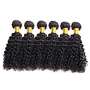 cheap One Pack Hair-6 Bundles Brazilian Hair Curly Virgin Human Hair Natural Color Hair Weaves 8-26 inch Human Hair Weaves Human Hair Extensions