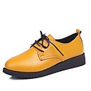זול מוקסינים לנשים-בגדי ריקוד נשים נעליים PU אביב / קיץ נוחות נעלי אוקספורד שטוח בוהן עגולה שחור / צהוב