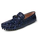 זול סניקרס לגברים-בגדי ריקוד גברים עור אביב / קיץ נוחות נעליים ללא שרוכים כחול כהה / אפור / אדום