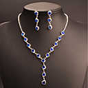 cheap Necklaces-Women's Cubic Zirconia / Synthetic Sapphire Jewelry Set - Drop Classic, Vintage, Elegant Include Drop Earrings / Choker Necklace / Bridal Jewelry Sets Blue For Wedding / Party / Engagement