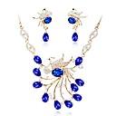 זול סטים של תכשיטים-בגדי ריקוד נשים קריסטל סט תכשיטים - ציפוי זהב קלסי, אופנתי לִכלוֹל סטי תכשיטי כלה כחול עבור חתונה / מסיבת ערב