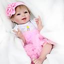 זול בובות-NPK DOLL בובה מחדש תינוק 22 אִינְטשׁ סיליקון / ויניל - כְּמוֹ בַּחַיִים, ריסים ידניים, ציפורניים אטומות וחותמות הילד של בנות מתנות / CE / עור טבעי / ראש דיסקט / עיניים מלאכותיות עיניים חומות