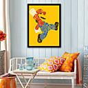 رخيصةأون ملصقات الحائط-الناس كارتون توضيح جدار الفن,البلاستيك مادة مع الإطار For تصميم ديكور المنزل الفن الإطار غرفة الجلوس