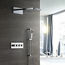 זול ברזים למקלחת-עכשווי מותקן על הקיר מקלחת גשם מפל מים שפורפרת יד כלולה תרמוסטטי שסתום קרמי ארבע ידיות ארבעה חורים כרום, ברז למקלחת