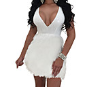 cheap Latin Dance Wear-Women's Party / Going out Basic Mini Slim Sheath / Skater Dress - Solid Color White V Neck Spring White Black Silver M L XL