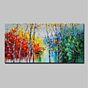 cheap Landscape Paintings-Oil Painting Hand Painted - Abstract / Landscape Modern Stretched Canvas