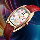 זול שעוני ספורט-SKMEI בגדי ריקוד נשים שעון יד Japanese עמיד במים / שעונים יום יומיים עור אמיתי להקה פאר / יום יומי שחור / אדום