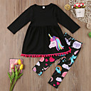 cheap Girls' Clothing Sets-Toddler Girls' Casual / Basic Sports / Going out Animal Animal Pattern / Printing Long Sleeve Regular Regular Cotton Clothing Set Black / Cute