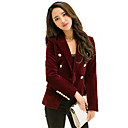 cheap Security Sensors & Alarms-Women's Daily / Work Fall Regular Blazer, Solid Colored Shirt Collar Long Sleeve Polyester Black / Wine L / XL / XXL