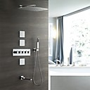 זול ברזים למקלחת-עכשווי מותקן על הקיר מקלחת גשם שפורפרת יד כלולה תרמוסטטי שסתום קרמי חמש ידיות שמונה חורים כרום, ברז למקלחת