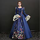 cheap Historical & Vintage Costumes-Queen Victoria Renaissance Costume Women's Dress Masquerade Party Costume Outfits Blue Red Vintage Cosplay Polyster 3/4 Length Sleeves