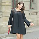 abordables Espejos Relojes de Pared-Mujer Tallas Grandes Línea A Corte Ancho Pequeño Negro Vestido - Encaje, Un Color Floral Sobre la rodilla Negro