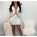 hesapli Santa Suits & Noel Giysisi-Kadın's Kulüp Dışarı Çıkma Sokak Şıklığı Bandaj Elbise - Solid, Retro Bölünmüş Derin V Diz-boyu Yüksek Bel