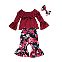 cheap Girls' Clothing Sets-Girls' Going out Holiday Solid Floral Clothing Set, Rayon Polyester Spring Fall Long Sleeves Street chic Boho Wine
