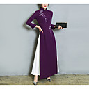 cheap Wedding Shoes-Women's Party / Going out Chinoiserie Maxi Sheath Dress - Patchwork Fall Blue Purple L XL XXL