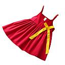 tanie Sukienki dla dziewczynek-Brzdąc Dla dziewczynek Podstawowy Codzienny Solidne kolory Bez rękawów Bawełna / Poliester Sukienka Czerwony 100