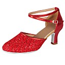 cheap Modern Shoes-Women's Modern Shoes Paillette / Leatherette Heel Sequin / Buckle / Lace Cuban Heel Customizable Dance Shoes Red / Professional