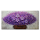 cheap Oil Paintings-STYLEDECOR A Bouquet of Purple Flowers  Modern Hand Painted Abstract Palette Knife Oil Painting for Living