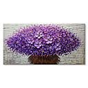 זול ציורי שמן-ציור שמן צבוע-Hang מצויר ביד - מופשט פרחוני / בוטני עכשווי מודרני בַּד