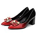 ieftine Mocasini de Damă-Pentru femei Pantofi PU Primăvară / Toamnă Balerini Basic Tocuri Toc Îndesat Vârf ascuțit Piatră Semiprețioasă / Imitație de Perle Negru