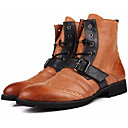 זול מגפיים לגברים-בגדי ריקוד גברים מגפיי קרב עור נאפה Leather / עור סתיו / חורף נוחות מגפיים מגפיים באורך אמצע - חצי שוק שחור / חאקי