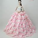 cheap Dolls Accessories-Dresses Dress For Barbie Doll Pale Pink Lace / Silk / Cotton Blend Dress For Girl's Doll Toy