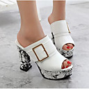 cheap Women's Sandals-Women's Shoes Synthetic Microfiber PU Spring / Summer Comfort Sandals Chunky Heel White / Black / Red