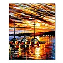 cheap Oil Paintings-STYLEDECOR Modern Hand Painted Abstract Knife Painting Sailing on Canvas for Living Room