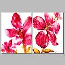 זול ציורי פרחים/צמחייה-ציור שמן צבוע-Hang מצויר ביד - מופשט פרחוני / בוטני קלסי בַּד