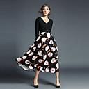 זול שרשרת אופנתית-צווארון V מידי דפוס, פרחוני - שמלה סווינג רזה סגנון רחוב חגים בגדי ריקוד נשים