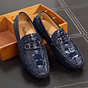 זול סניקרס לגברים-בגדי ריקוד גברים נעלי נוחות PU אביב / סתיו נעליים ללא שרוכים שחור / כסף / כחול