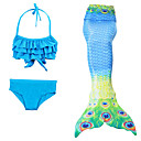 cheap Kids Halloween Costumes-Mermaid Tail Swimwear Men's Women's Halloween Children's Day Festival / Holiday Halloween Costumes Blue Solid Colored Mermaid Mermaid and