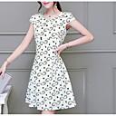 preiswerte Moderinge-Damen Übergrössen Grundlegend / Street Schick Schlank Hülle / Skater Kleid Übers Knie Hohe Taillenlinie Weiß