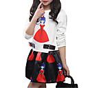 tanie Zestawy ubrań dla dziewczynek-Dzieci Dla dziewczynek Prosty / Casual Święto Solidne kolory / Nadruk Nadruk Długi rękaw Bawełna Komplet odzieży