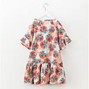 זול שמלות לבנות-שמלה שרוולים קצרים פרחוני חגים פעיל בנות ילדים / כותנה / חמוד