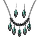 cheap Jewelry Sets-Women's Turquoise Jewelry Set - Leaf Vintage, Fashion Include Drop Earrings / Pendant Necklace Silver For Daily