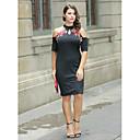 abordables Espejos Relojes de Pared-Mujer Tallas Grandes Básico Sofisticado Corte Bodycon Vaina Pequeño Negro Vestido Floral Sobre la rodilla Cuello Barco Hombros Caídos
