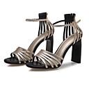 זול סנדלים לגברים-בגדי ריקוד נשים נעליים עור אביב / קיץ גלדיאטור / בלרינה בייסיק סנדלים עקב סטילטו זהב / כסף