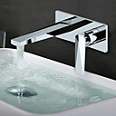 billige Baderomskraner-Baderom Sink Tappekran - Utbredt Krom Vægmonteret Enkelt håndtak To HullerBath Taps