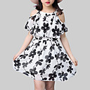 זול שמלות לבנות-שמלה שרוולים קצרים דפוס פרחוני סגנון רחוב בנות ילדים