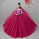 tanie Akcesoria dla lalek-Suknie Sukienka Dla Lalka Barbie Ciemno czerwony Tiul / Koronka / Jedwab / Cotton Mieszanka Ubierać Dla Dziewczyny Lalka Zabawka