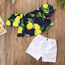 זול שמלות לבנות-סט של בגדים כותנה פוליאסטר קיץ שרוולים קצרים יומי ליציאה דפוס בנות חמוד יום יומי לבן